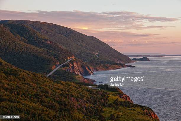sunset on the cabot trail, nova scotia - cape breton island stock pictures, royalty-free photos & images