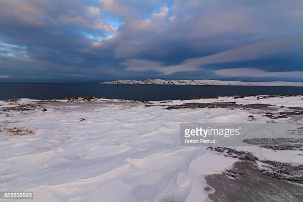 sunset on the coast of the arctic ocean - anton petrus stock pictures, royalty-free photos & images