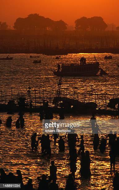 Sunset on the Ganges during the Maha Kumbh Mela Festival.