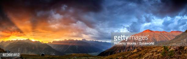 Sunset on the high peaks Muottas Muragl Switzerland