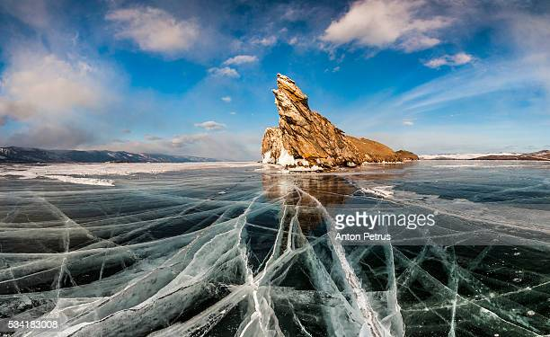 Sunset on the ice of Lake Baikal