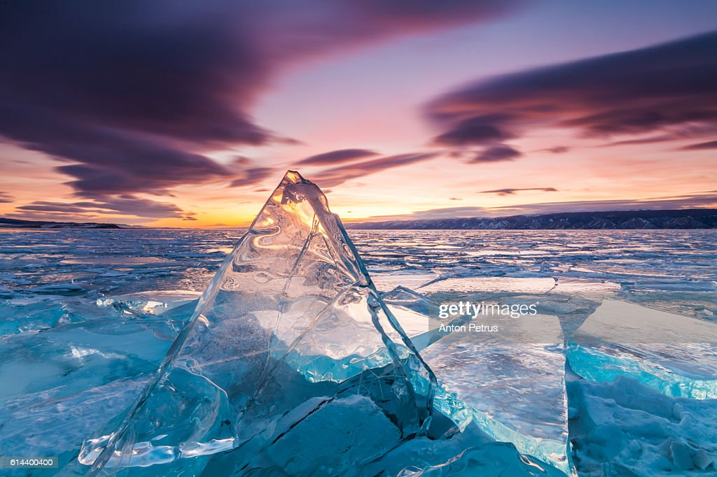 Sunset on the ice of Lake Baikal : Stock-Foto