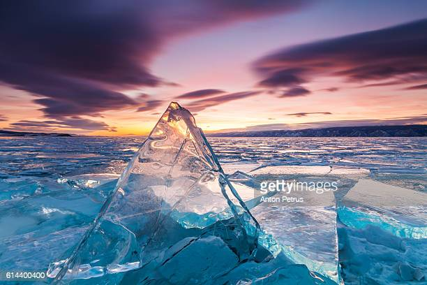 Sunset on the ice of Lake Baikal