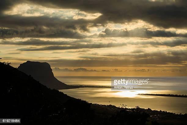 Sunset on the island of Mauritius. Le Morne