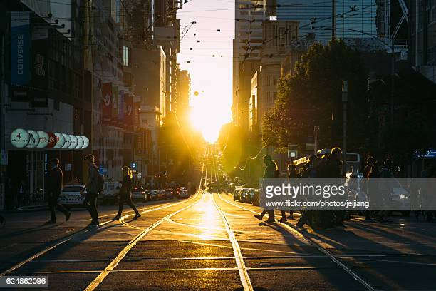 Sunset on the La Trobe Street in Melbourne Central