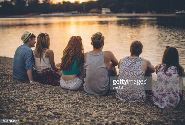 sunset on the lake - after party stock pictures, royalty-free photos & images