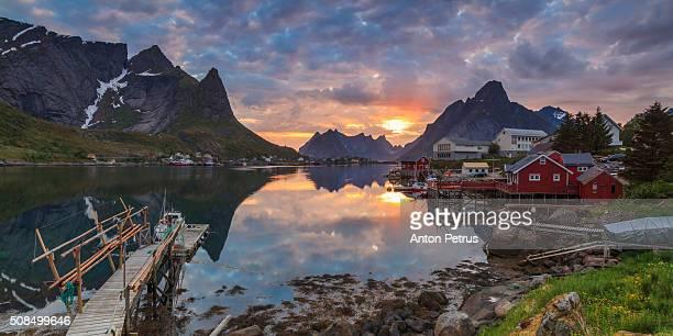 Sunset on the Lofoten Islands, village Reine