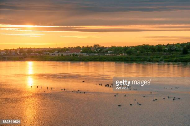 Sunset on the Missouri River from River's Edge Trail Great Falls Montana