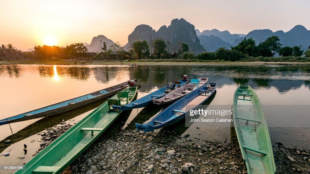 Sunset on the Nam Song River : Stock Photo