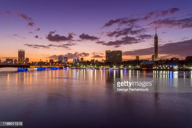 sunset on the nile river in cairo, egypt - egypt stock pictures, royalty-free photos & images