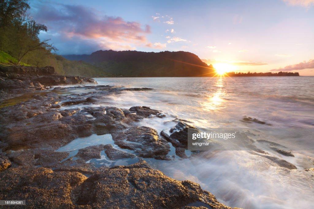 sunset on the north shore of kauai, hawaii : Stock Photo
