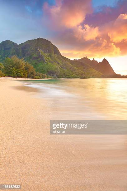 sunset on the north shore of kauai-tunnels beach, hawaii