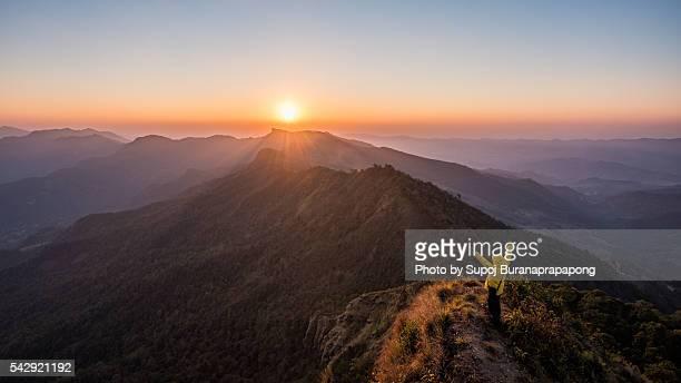 Sunset on the peak of the mountain