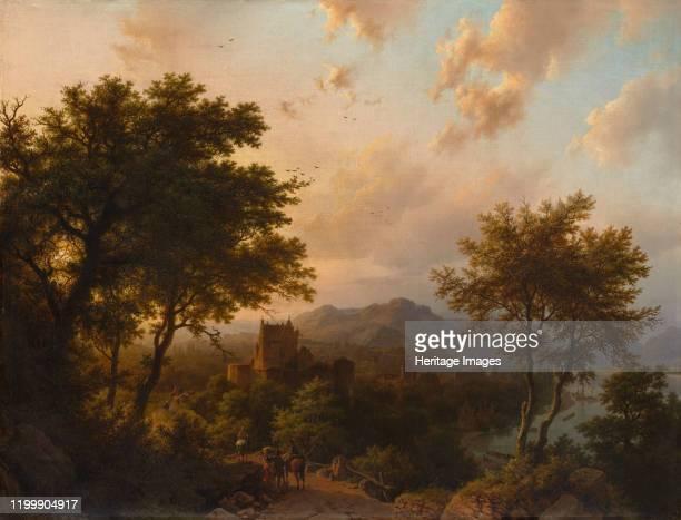Sunset on the Rhine, 1853. Artist Barend Cornelis Koekkoek.