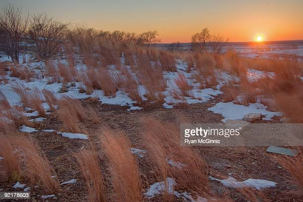 sunset on the snowy prairie - ryan mcginnis stock photos and pictures