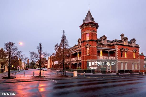 sunset on the streets of launceston, tasmania - launceston australia stock pictures, royalty-free photos & images