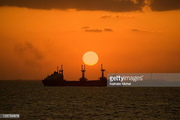 sunset on the Suez Canal