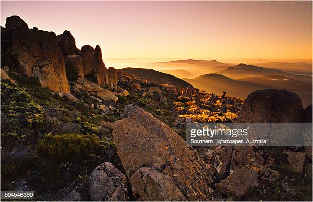 Sunset on the summit of Mount Wellington, Hobart, Tasmania.