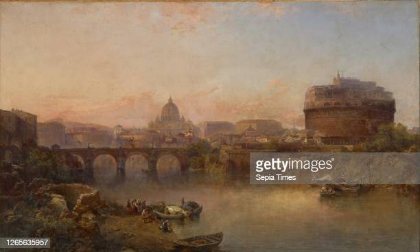 Sunset on the Tiber. Rome. George Loring Brown . About 1880. Oil on canvas. 30-1/4 x 50 in. 37-1/2 x 57-1/2 x 2-3/4 in. . American Painting and...