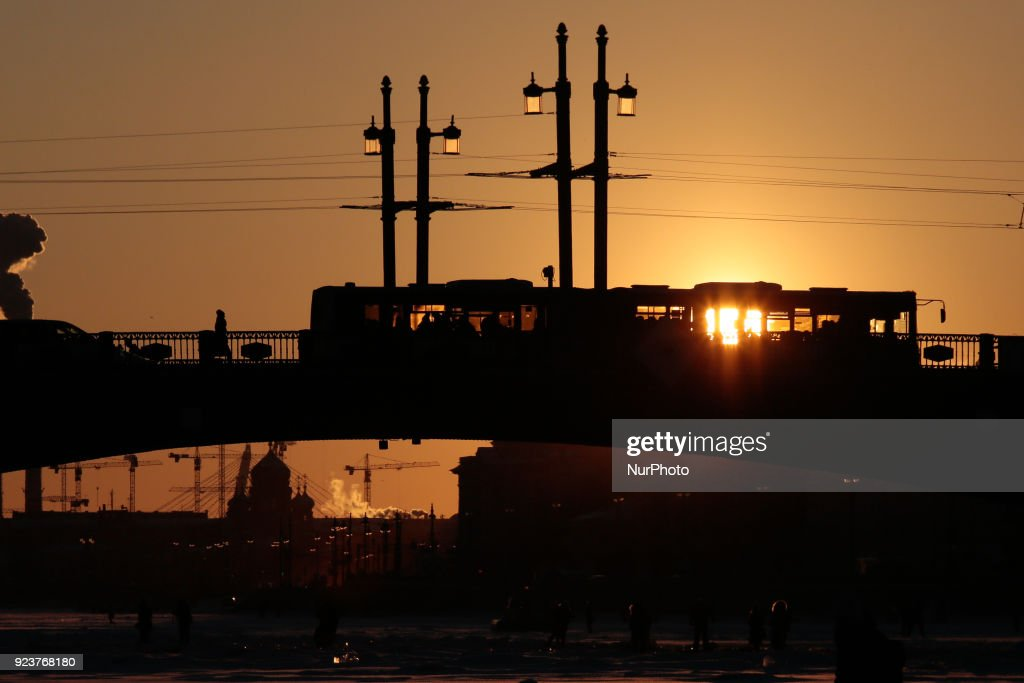 Heavy frozen in russia photos and images getty images sunset on the troitsky trinity bridge during a severe frost in saint petersburg publicscrutiny Gallery