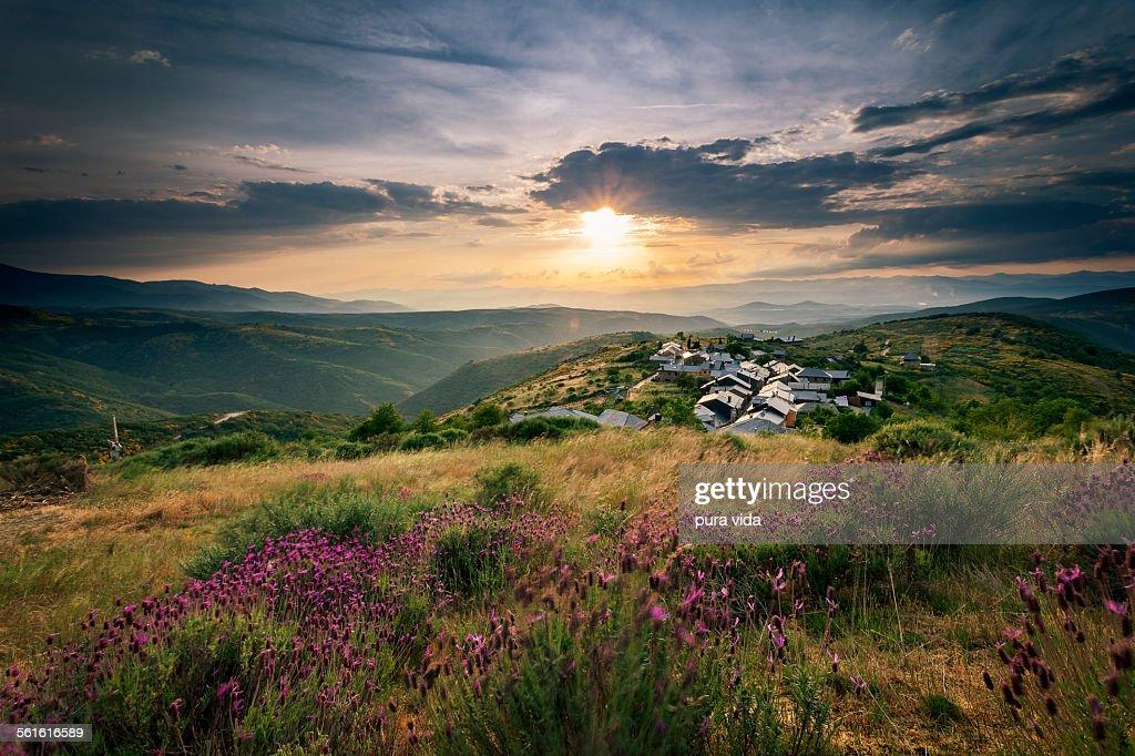Sunset on the way to Santigo de Compostela : Stock Photo