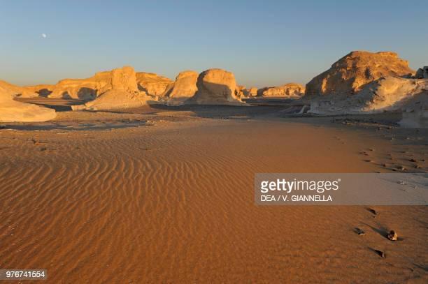 Sunset on the White desert Sahara desert Egypt