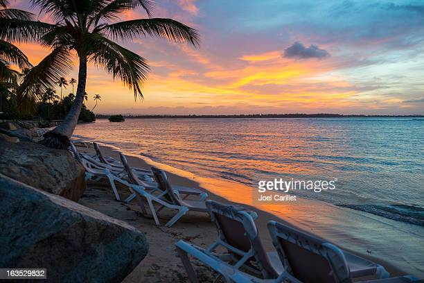 Sunset on tropical beach in Puerto Rico