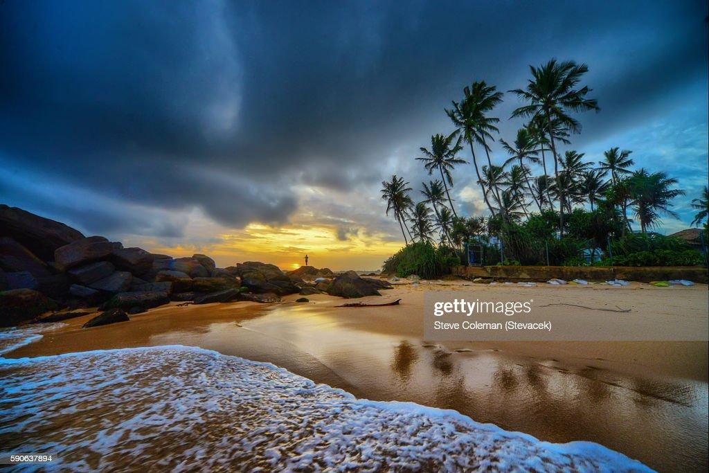 Sunset on tropical beach : Stock Photo