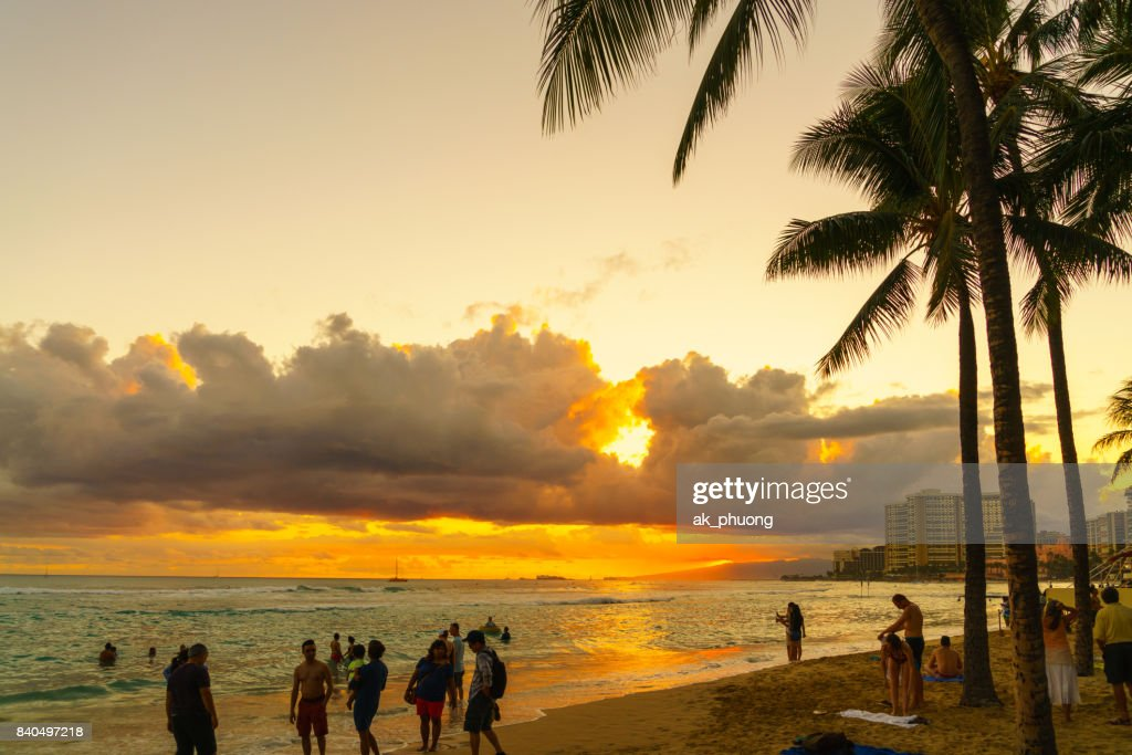 Sunset On Waikiki Beach Honolulu Hawaii High Res Stock Photo