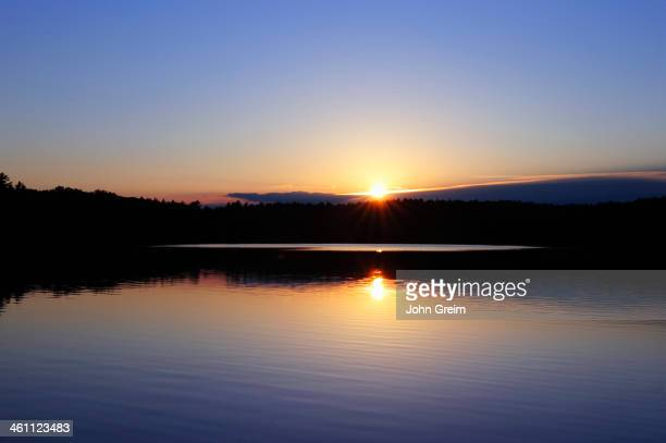 Sunset on Walden Pond made famous by writer Henry David Thoreau