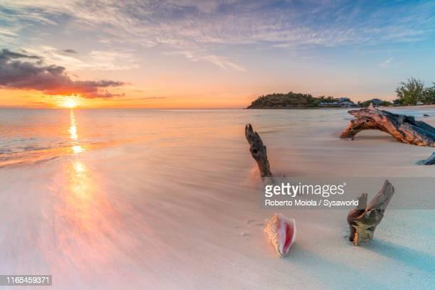 sunset on white sand beach, caribbean, antilles - isla martinica fotografías e imágenes de stock