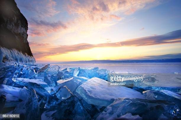 Sunset on winter Lake Baikal