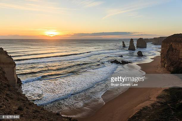Sunset over 12 Apostles coastline