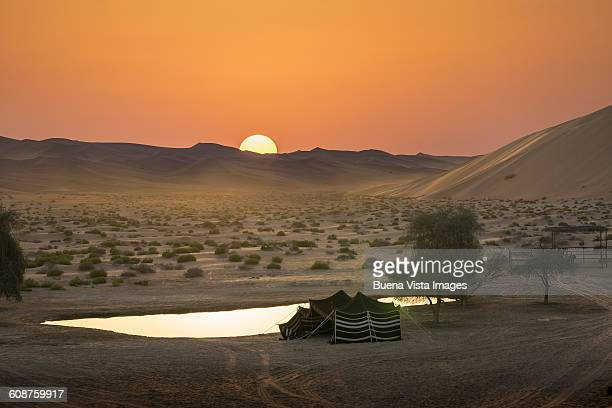 Sunset over a bedouin's tent in a desert