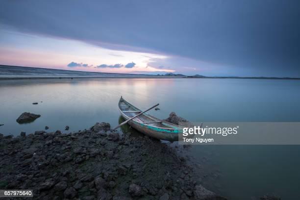 Sunset over a dugout canoe