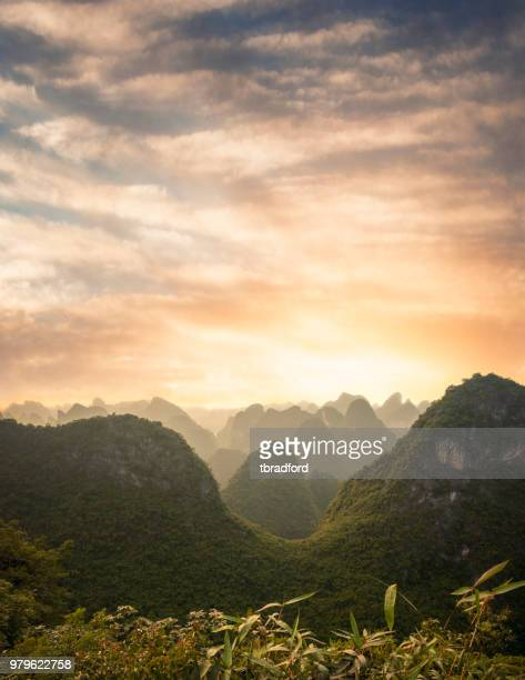 Sunset Over A Karst Landscape On Cat Ba Island In Vietnam