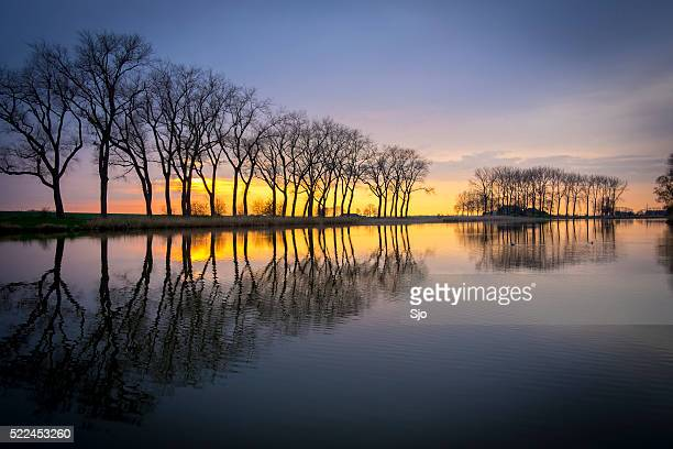 Sunset over a lake with trees in the background