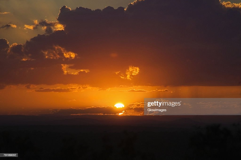 Sunset over a landscape, Kruger National Park, South Africa : Stock Photo