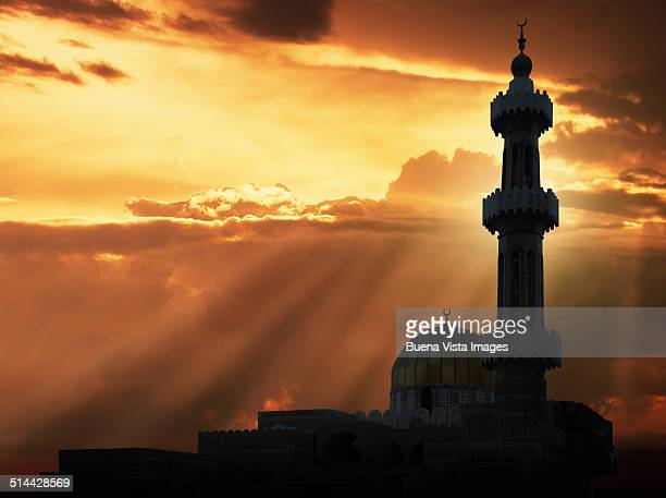 Sunset over a mosque