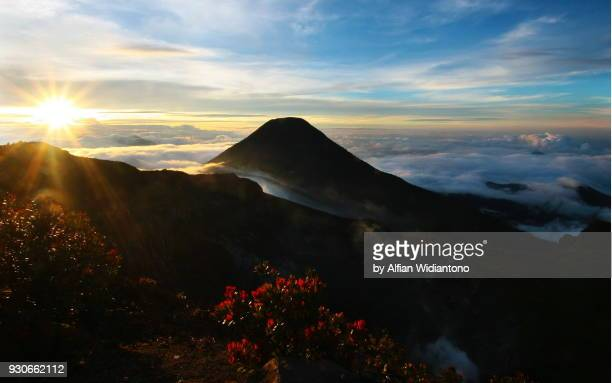 sunset over a mounttain - bogor stock pictures, royalty-free photos & images