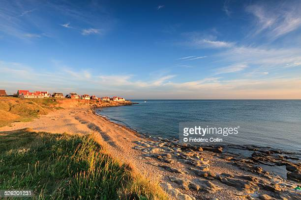sunset over a small town overlooking the channel - hauts de france stock photos and pictures