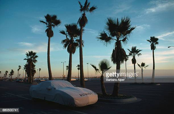 Sunset over a waterfront car park in Los Angeles California January 1990