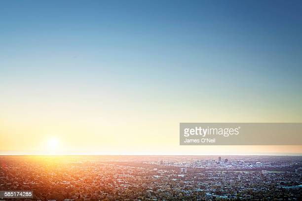 sunset over adelaide - clear sky stock pictures, royalty-free photos & images