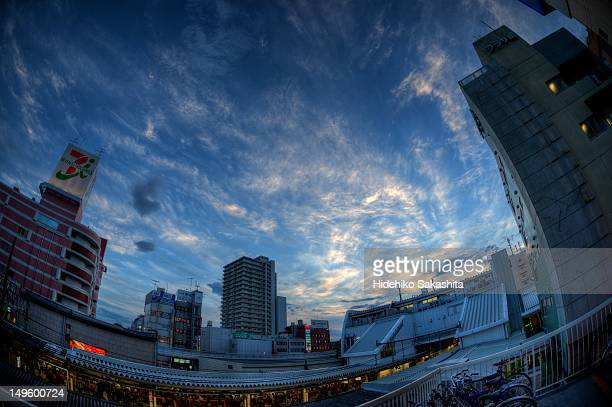 sunset over ageo station - saitama prefecture stock pictures, royalty-free photos & images