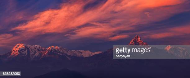 Sunset over Annapurna Range, Nepal