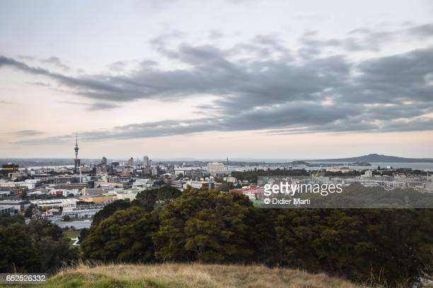 Sunset over Auckland central business district in New Zealand largest city.