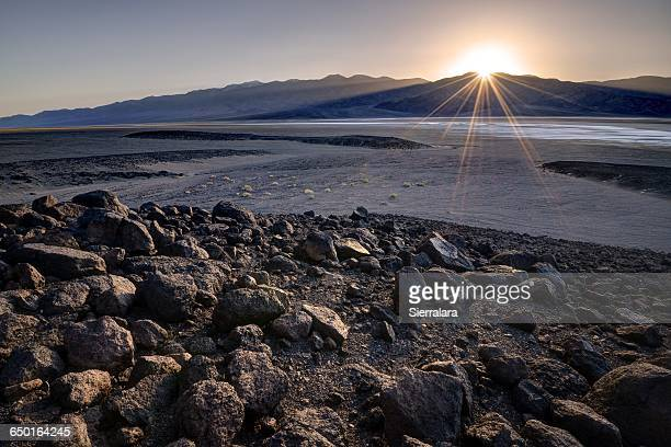 Sunset Over Badwater basin, Death Valley National Park, California, America, USA