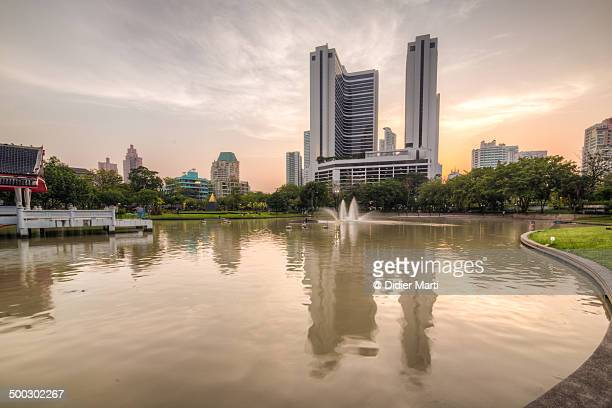 sunset over bangkok - didier marti stock photos and pictures