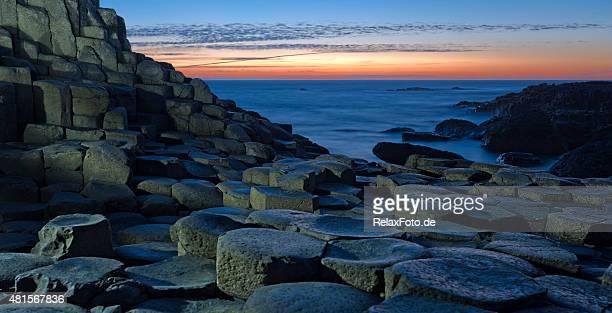 Sunset over Basalt columns at Giants Causeway in Northern Ireland
