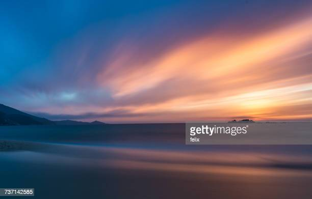 Sunset over beach, Propriano, Corsica, France